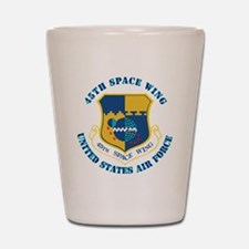 45-space-wing-txt Shot Glass