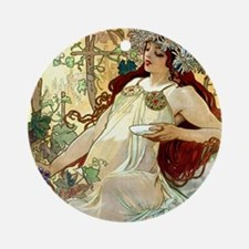 iPad S Mucha Fall Round Ornament