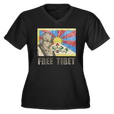 VintageFreeT Women's Plus Size Dark V-Neck T-Shirt