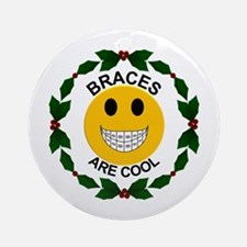Braces Are Cool Christmas Ornament (round)