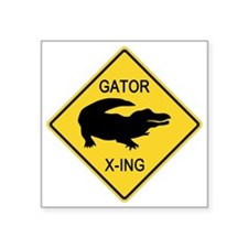 "crossing-sign-alligator Square Sticker 3"" x 3"""