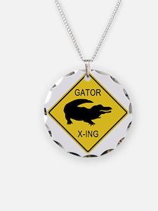 crossing-sign-alligator Necklace