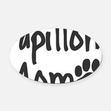 papillonmom-new Oval Car Magnet