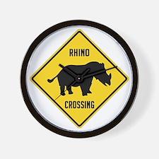 crossing-sign-rhino Wall Clock