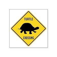 "crossing-sign-turtle Square Sticker 3"" x 3"""