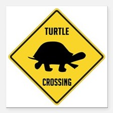 "crossing-sign-turtle Square Car Magnet 3"" x 3"""