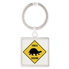 crossing-sign-turtle Square Keychain