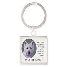 Westie Dad Square Keychain