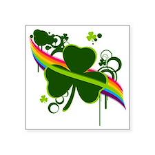 "rainbow shamrock Square Sticker 3"" x 3"""