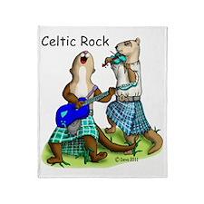 Celtic Rock Ferrets white Throw Blanket