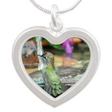 Baby Annas Hummingbird Silver Heart Necklace