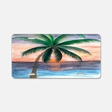 Sunset palm Aluminum License Plate