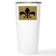 Black and Gold Bling fleur de l Travel Mug