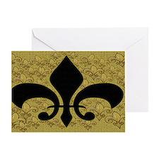 Black and Gold Bling fleur de lis Greeting Card