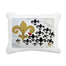 Black  gold Fleur de lis Rectangular Canvas Pillow