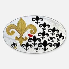Black  gold Fleur de lis party Sticker (Oval)