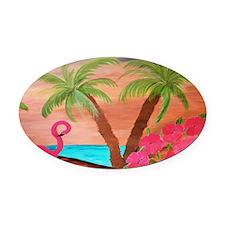 Flamingo Beach Oval Car Magnet