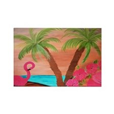 Flamingo Beach Rectangle Magnet