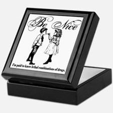 Be-Nice-blackonwhite Keepsake Box