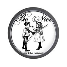 Be-Nice-blackonwhite Wall Clock