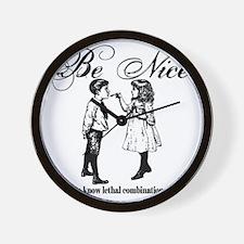 Be-Nice-blackonwhite Wall Clock