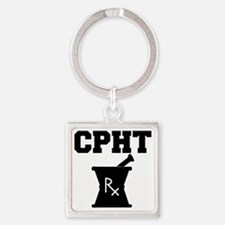 CPHT-2-blackonwhite Square Keychain