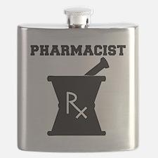 Pharmacist-4-blackonwhite Flask