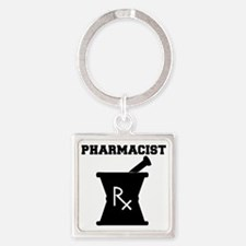 Pharmacist-4-blackonwhite Square Keychain