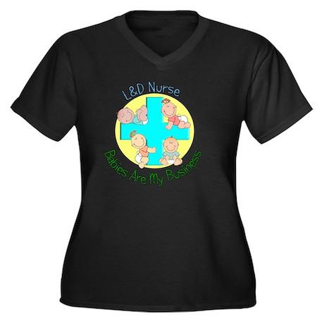 LD Nurse Women's Plus Size Dark V-Neck T-Shirt