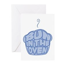Bun In The Oven Blue Greeting Cards (Pk of 10)