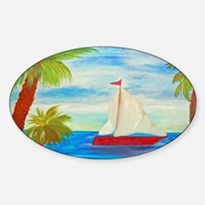 Red Sailboat Decal