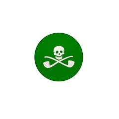 Ten White-on-Green Leprechaun Pirate Mini Buttons