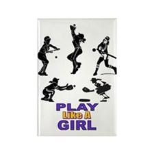 PLAY LIKE A GIRL Rectangle Magnet
