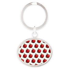 apple pattern Oval Keychain
