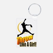 throw like a girl Aluminum Photo Keychain