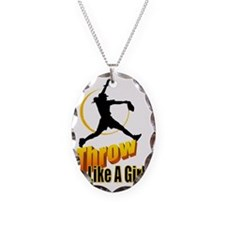 throw like a girl Necklace Oval Charm