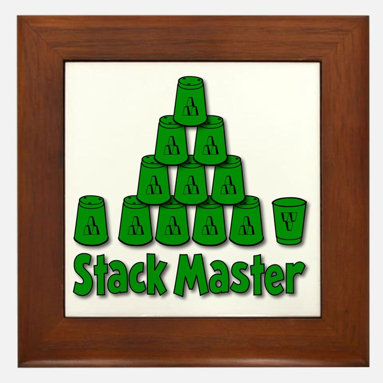 green, Stack Master 1, ck retro shadow Framed Tile