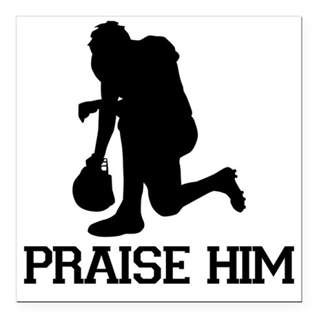 "Tebowing - Praise Him Square Car Magnet 3"" x 3"""