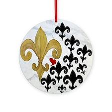 Black and Gold Fleur de lis party Round Ornament