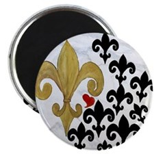 Black and Gold Fleur de lis party Magnet