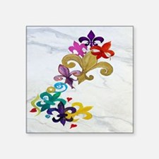 """Fleur de lis party Square Sticker 3"""" x 3"""""""