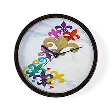 Fleur de lis party Wall Clock