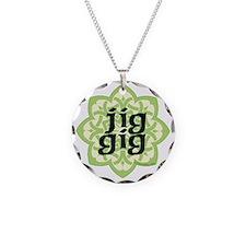 jig gig dark for irish dance Necklace Circle Charm
