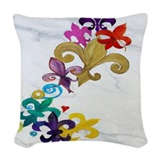 Fleur de lis party Woven Throw Pillow