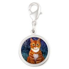 Orange Tabby Cat Silver Round Charm