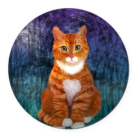 Orange Tabby Cat Round Car Magnet