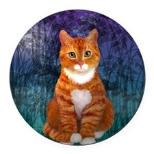 Orange Tabby Cat Round Car Magnet