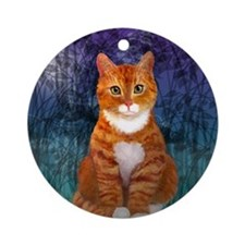 Orange Tabby Cat Round Ornament