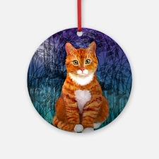 Orange Tabby Cat Round Ornament