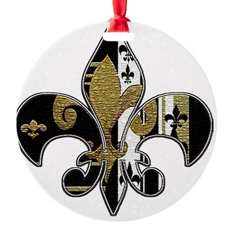 Fleur de lis black and gold bling Round Ornament